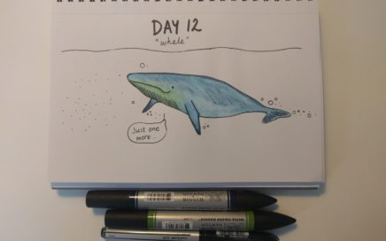 inktober 2018 hungry whale doodle drawing