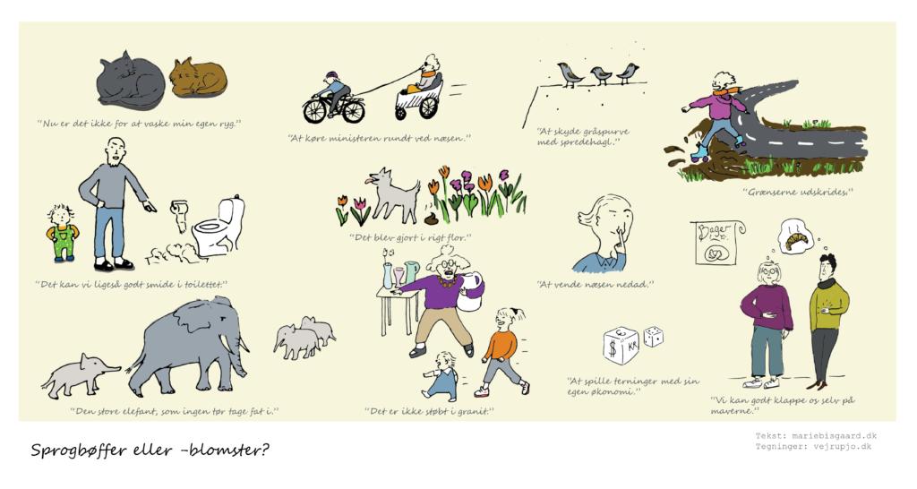 sprog metaforer sprogbøffer illustration tegning print