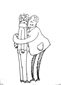 hug awkward but nice illustration doodle drawing