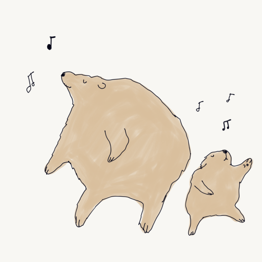 bear dancing illustration drawing