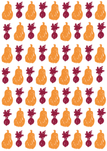gavepapir grafisk illustration mønster rødebede og butternut squash freelance