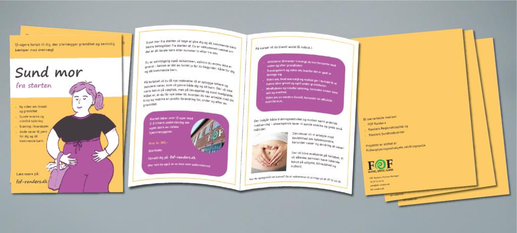 brochure om kurset Sund mor fra starten FOF Randers - grafisk design og illustration af johanne vejrup nielsen